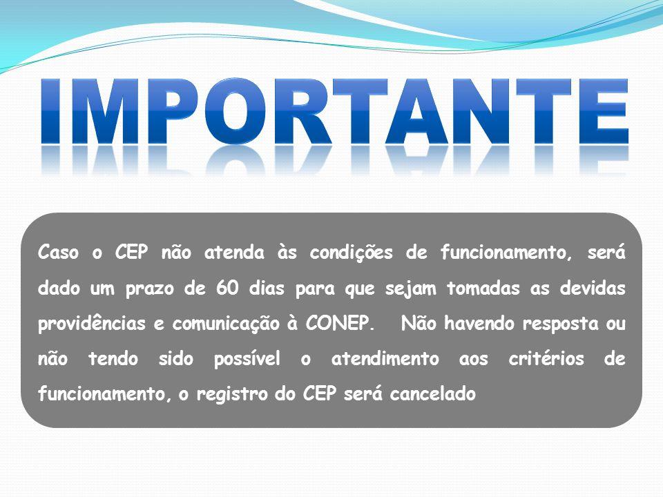 Caso o CEP não atenda às condições de funcionamento, será dado um prazo de 60 dias para que sejam tomadas as devidas providências e comunicação à CONE