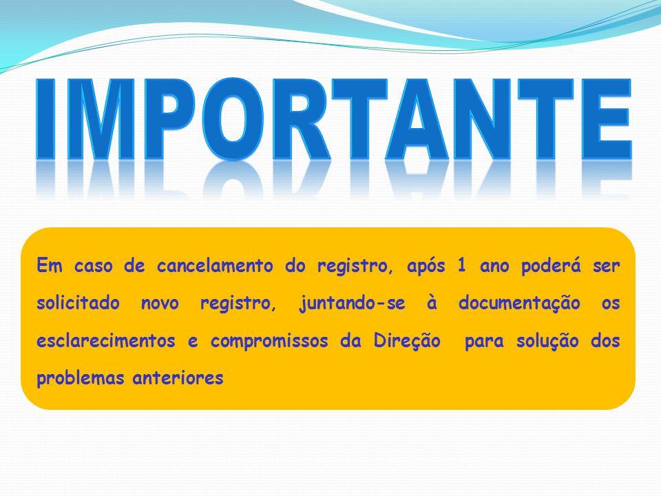 Em caso de cancelamento do registro, após 1 ano poderá ser solicitado novo registro, juntando-se à documentação os esclarecimentos e compromissos da D