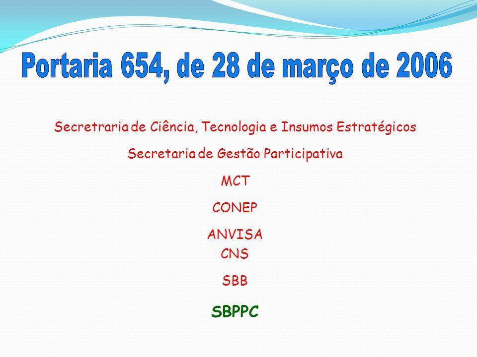 Secretraria de Ciência, Tecnologia e Insumos Estratégicos Secretaria de Gestão Participativa MCT CONEP ANVISA CNS SBB SBPPC