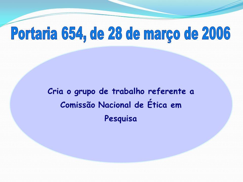 Cria o grupo de trabalho referente a Comissão Nacional de Ética em Pesquisa