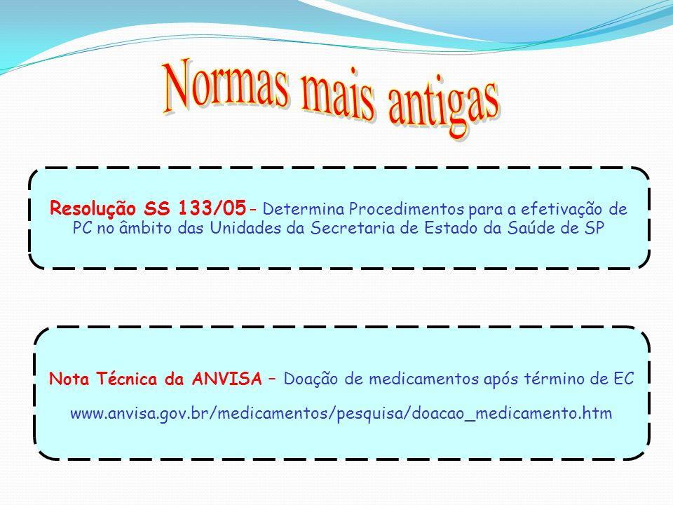 Nota Técnica da ANVISA – Doação de medicamentos após término de EC www.anvisa.gov.br/medicamentos/pesquisa/doacao_medicamento.htm Resolução SS 133/05