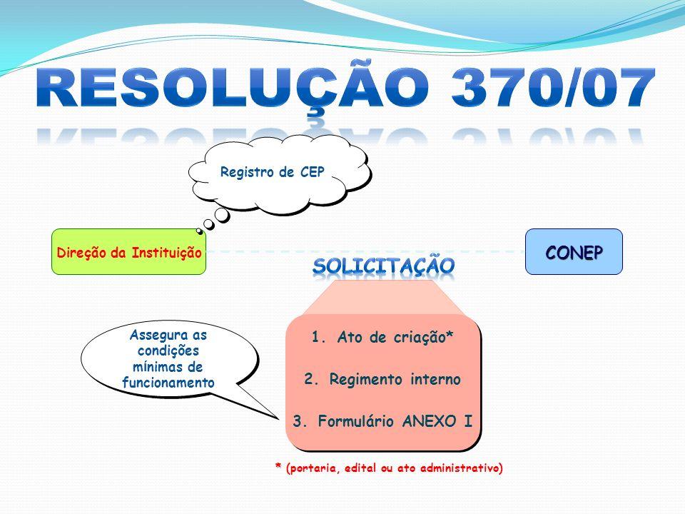Direção da InstituiçãoCONEP Registro de CEP * * (portaria, edital ou ato administrativo) 1.Ato de criação* 2.Regimento interno 3.Formulário ANEXO I 1.