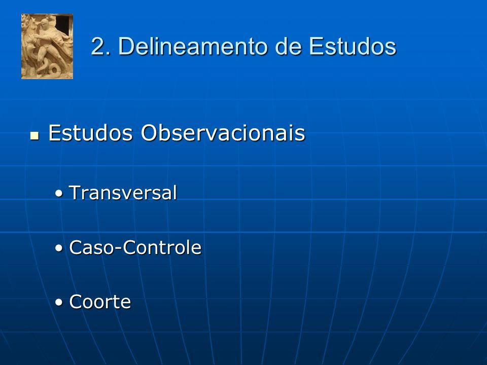 2. Delineamento de Estudos Estudos Observacionais Estudos Observacionais TransversalTransversal Caso-ControleCaso-Controle CoorteCoorte