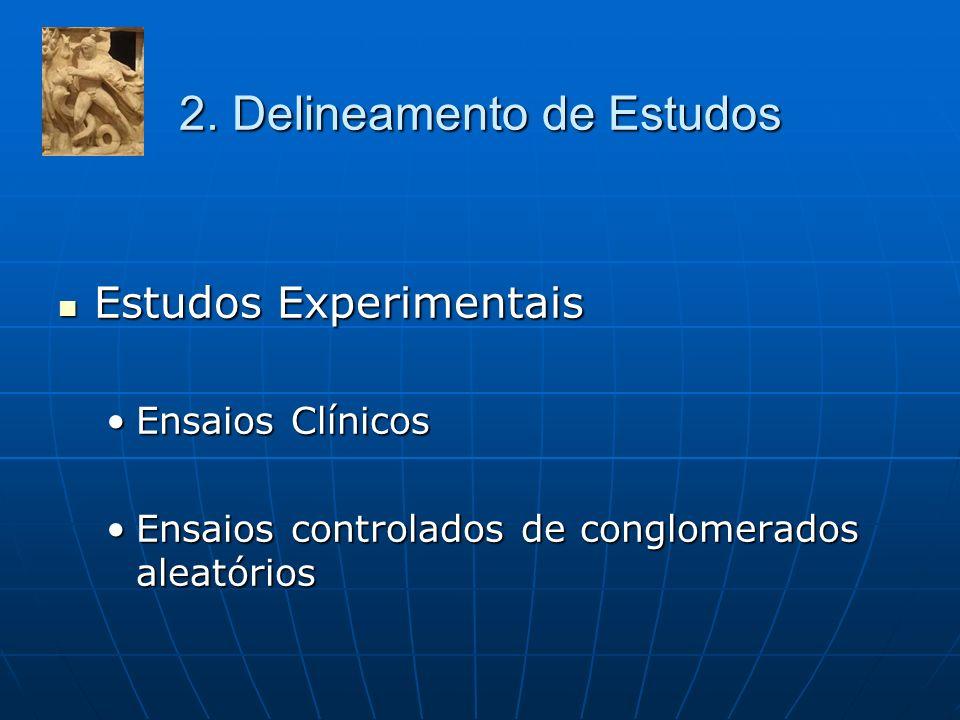 2. Delineamento de Estudos Estudos Experimentais Estudos Experimentais Ensaios ClínicosEnsaios Clínicos Ensaios controlados de conglomerados aleatório