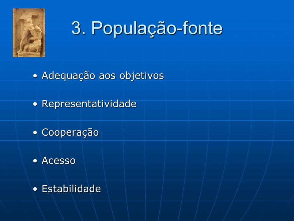 3. População-fonte Adequação aos objetivosAdequação aos objetivos RepresentatividadeRepresentatividade CooperaçãoCooperação AcessoAcesso EstabilidadeE