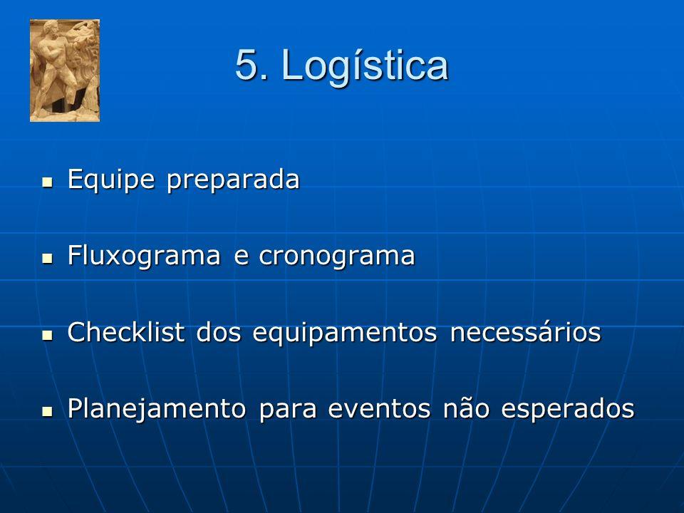 5. Logística Equipe preparada Equipe preparada Fluxograma e cronograma Fluxograma e cronograma Checklist dos equipamentos necessários Checklist dos eq