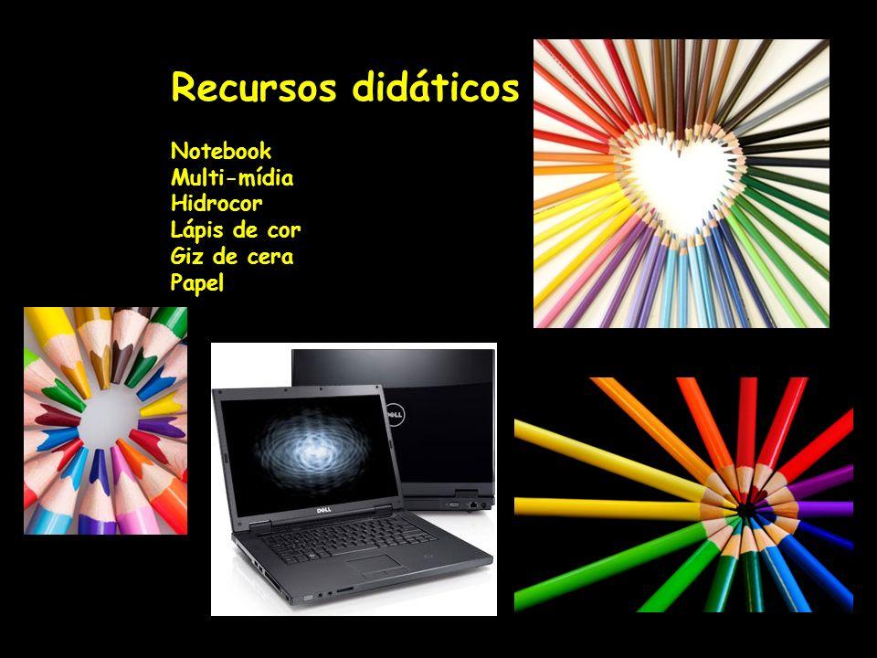 Recursos didáticos Notebook Multi-mídia Hidrocor Lápis de cor Giz de cera Papel