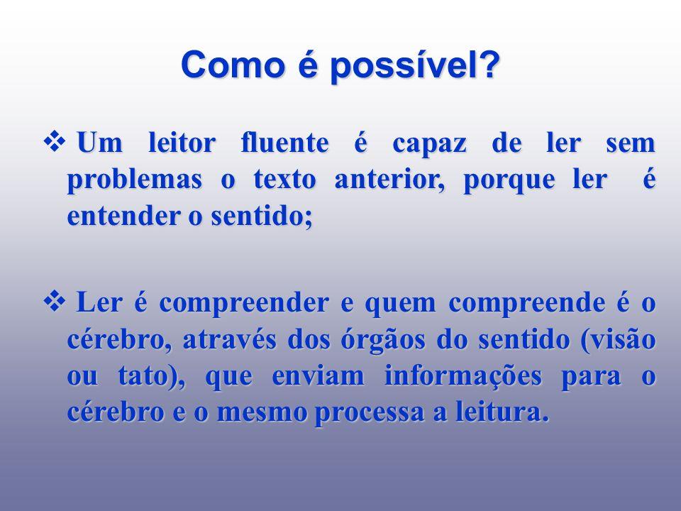 Como é possível? Um leitor fluente é capaz de ler sem problemas o texto anterior, porque ler é entender o sentido; Ler é compreender e quem compreende