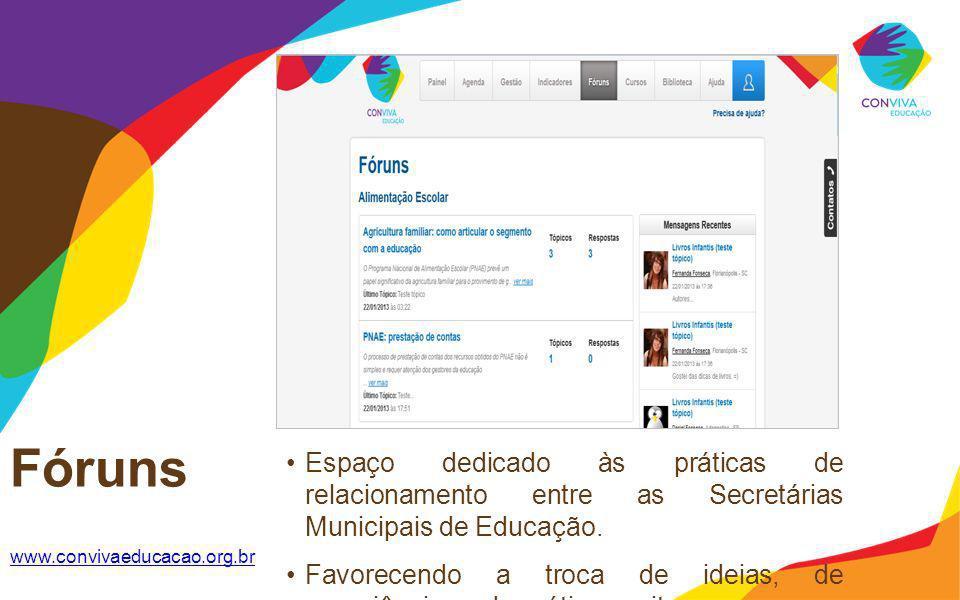 Fóruns www.convivaeducacao.org.br Espaço dedicado às práticas de relacionamento entre as Secretárias Municipais de Educação. Favorecendo a troca de id