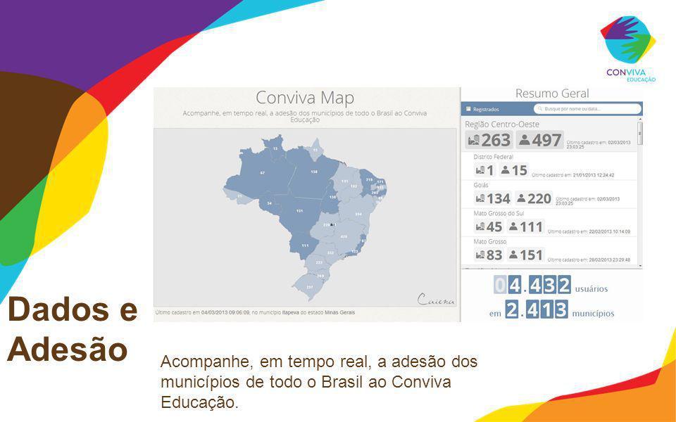 Dados e Adesão Acompanhe, em tempo real, a adesão dos municípios de todo o Brasil ao Conviva Educação. Sempre atualizar