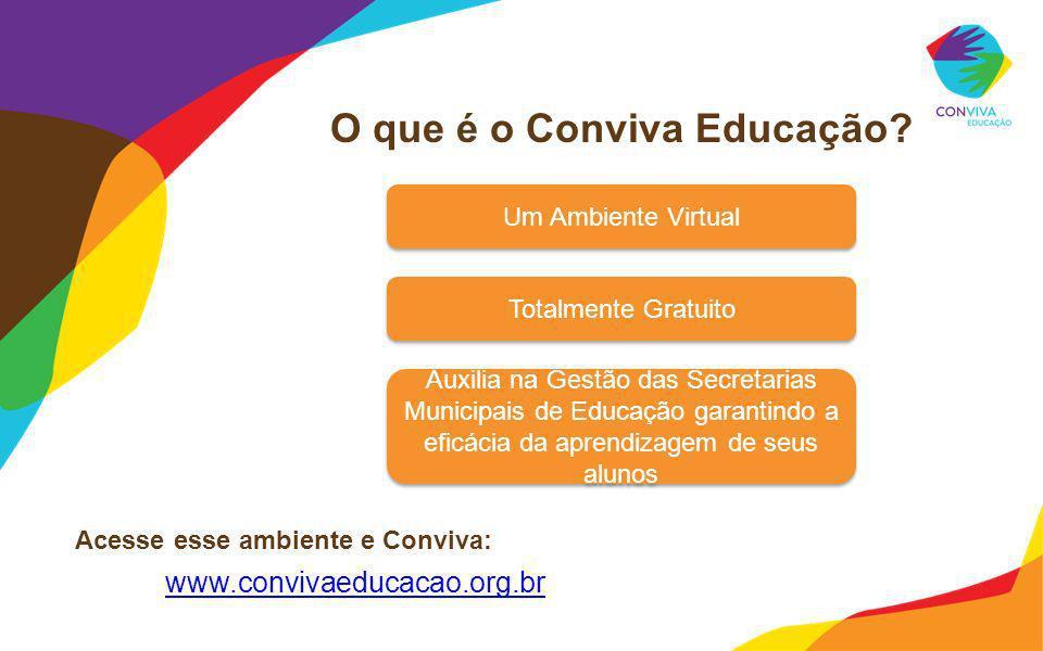 O que é o Conviva Educação? Acesse esse ambiente e Conviva: www.convivaeducacao.org.br Um Ambiente Virtual Totalmente Gratuito Auxilia na Gestão das S