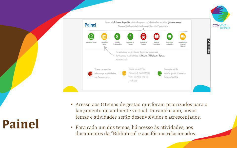 P ainel Acesso aos 8 temas de gestão que foram priorizados para o lançamento do ambiente virtual. Durante o ano, novos temas e atividades serão desenv