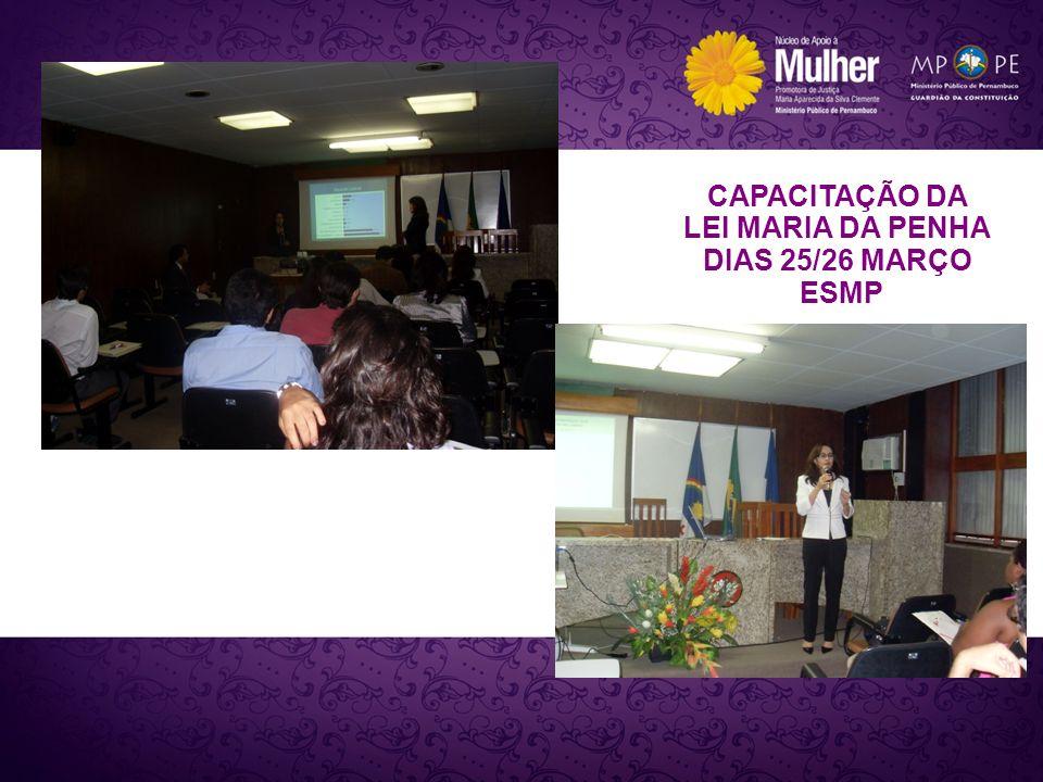 CAPACITAÇÃO DA LEI MARIA DA PENHA DIAS 25/26 MARÇO ESMP
