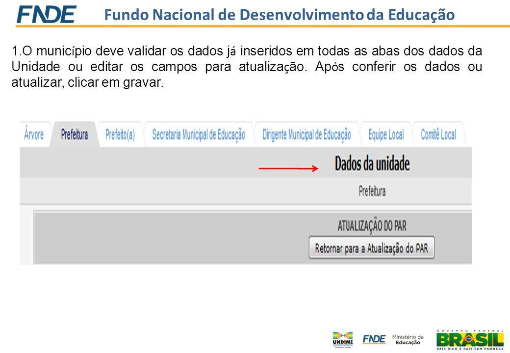 Fundo Nacional de Desenvolvimento da Educação 1.O munic í pio deve validar os dados j á inseridos em todas as abas dos dados da Unidade ou editar os c