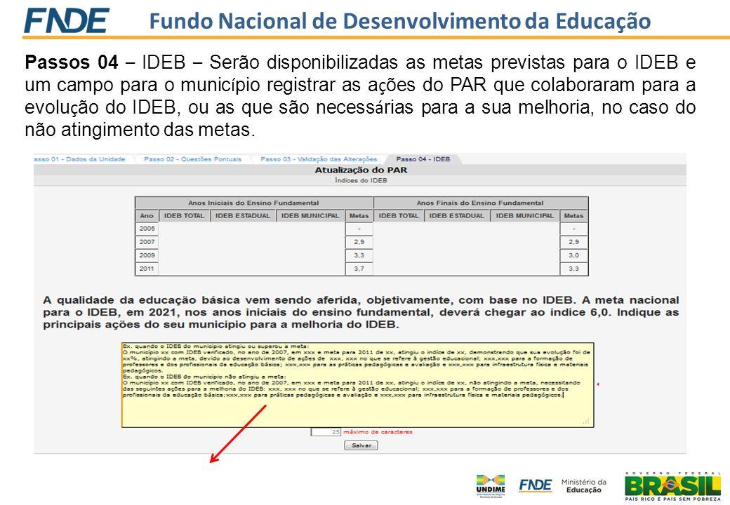 Fundo Nacional de Desenvolvimento da Educação Passos 04 – IDEB – Serão disponibilizadas as metas previstas para o IDEB e um campo para o munic í pio r