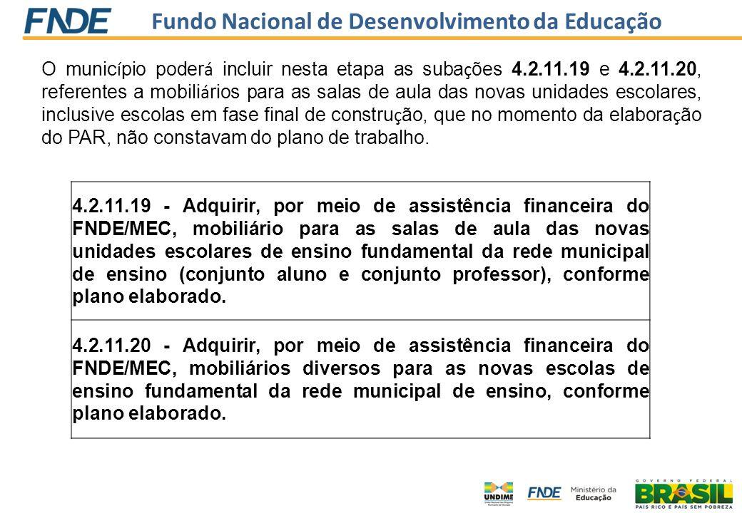 Fundo Nacional de Desenvolvimento da Educação 4.2.11.19 - Adquirir, por meio de assistência financeira do FNDE/MEC, mobiliário para as salas de aula d
