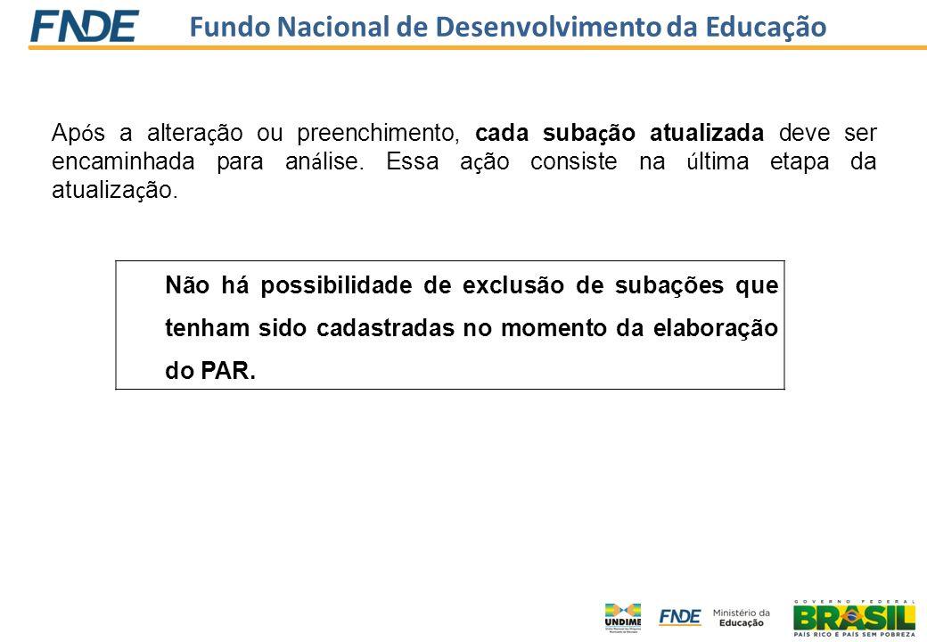 Fundo Nacional de Desenvolvimento da Educação Ap ó s a altera ç ão ou preenchimento, cada suba ç ão atualizada deve ser encaminhada para an á lise. Es