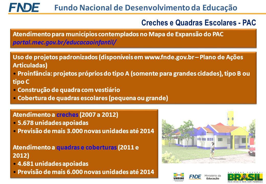 Fundo Nacional de Desenvolvimento da Educação Creches e Quadras Escolares - PAC Atendimento para municípios contemplados no Mapa de Expansão do PAC po