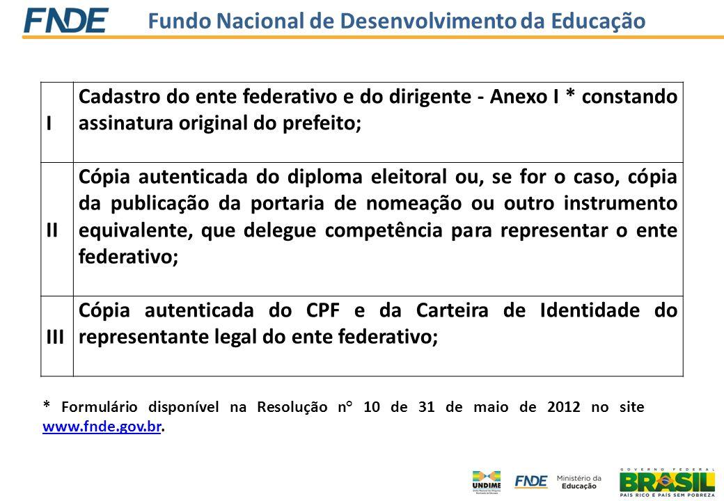 Fundo Nacional de Desenvolvimento da Educação I Cadastro do ente federativo e do dirigente - Anexo I * constando assinatura original do prefeito; II C