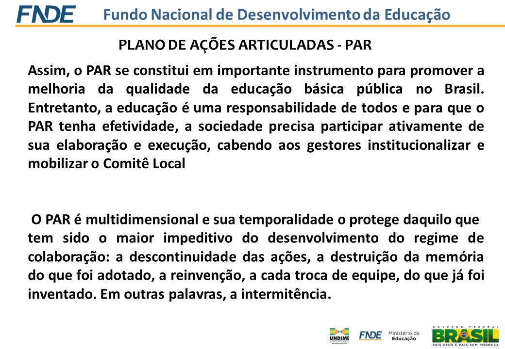 Fundo Nacional de Desenvolvimento da Educação INFORMAÇÕES NO SIMEC SOBRE DADOS DA UNIDADE/Atualiz ação dos DADOS ELABORAÇÃO/ REVISÃO DO DIAGNÓSTICO DA SITUAÇÃO EDUCACIONAL DA REDE A PARTIR DOS INDICADORES QUALITATIVOS ELABORAÇÃO/ATUALI ZAÇAO DO PAR A PARTIR DO DIAGNÓSTICO REALIZADO VALIDAÇÃO E ENVIO DO PAR PARA ANÁLISE DA EQUIPE TÉCNICA DO MEC (análise de mérito, análise técnica e financeira) ARRANJOS EDUCACIONAIS (Assistência Técnica e Financeira) ARRANJOS EDUCACIONAIS (Assistência Técnica e Financeira) CADASTRO NO SIMEC AÇÕES próprias PPA interno do Estado ou Município AÇÕES DO MEC Assistência Técnica Assistência Técnica (Termo de Cooperação) (Termo de Cooperação) Assistência Financeira Assistência Financeira ( TERMO DE COMPROMISSO ) AÇÕES próprias PPA interno do Estado ou Município AÇÕES DO MEC Assistência Técnica Assistência Técnica (Termo de Cooperação) (Termo de Cooperação) Assistência Financeira Assistência Financeira ( TERMO DE COMPROMISSO ) SIMEC/SIGARP Termo de Compromisso - Registro de atas no SIGARP SIMEC/SIGARP Termo de Compromisso - Registro de atas no SIGARP ASSINATURA DE TERMOS DE COMPROMISSO ELETRONICAMENTE E PROCESSO DE AQUISIÇÃO no Planejamento, execução, acompanhamento e avaliação das políticas públicas no Planejamento, execução, acompanhamento e avaliação das políticas públicas AÇÕES ARTICULADAS na Organização da ASSISTÊNCIA TÉCNICA E FINANCEIRA na Organização da ASSISTÊNCIA TÉCNICA E FINANCEIRA http://simec.mec.gov.brsimec.mec.gov.br