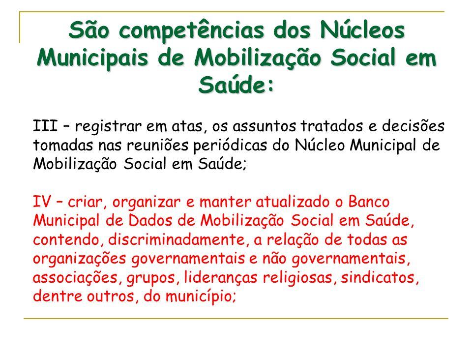 São competências dos Núcleos Municipais de Mobilização Social em Saúde: III – registrar em atas, os assuntos tratados e decisões tomadas nas reuniões