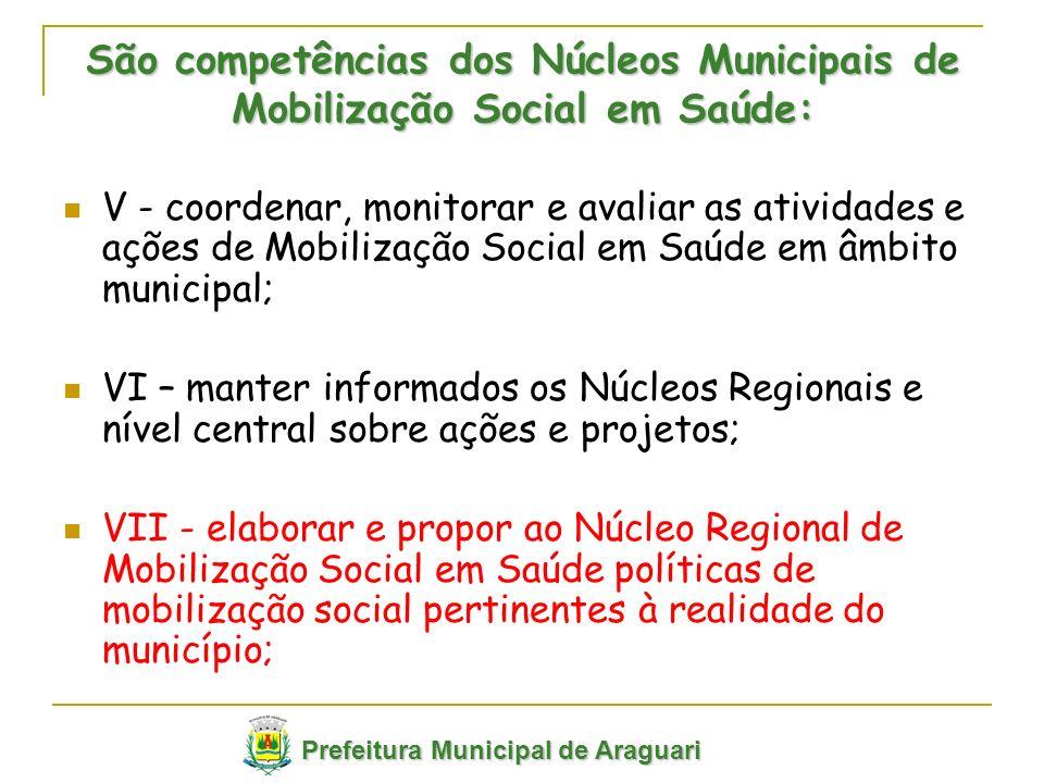 V - coordenar, monitorar e avaliar as atividades e ações de Mobilização Social em Saúde em âmbito municipal; VI – manter informados os Núcleos Regiona