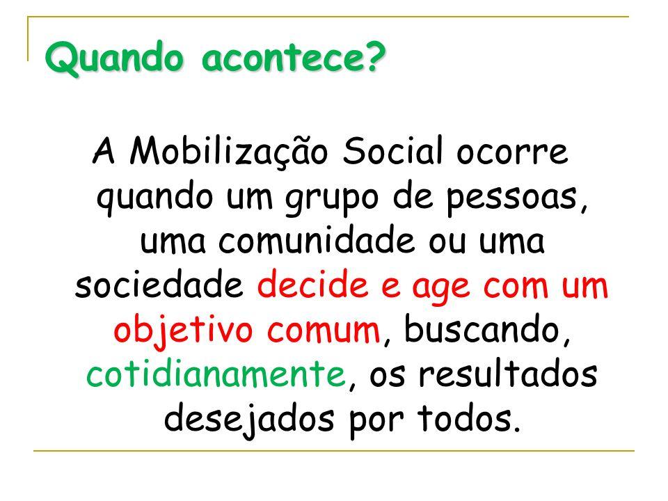 Quando acontece? A Mobilização Social ocorre quando um grupo de pessoas, uma comunidade ou uma sociedade decide e age com um objetivo comum, buscando,