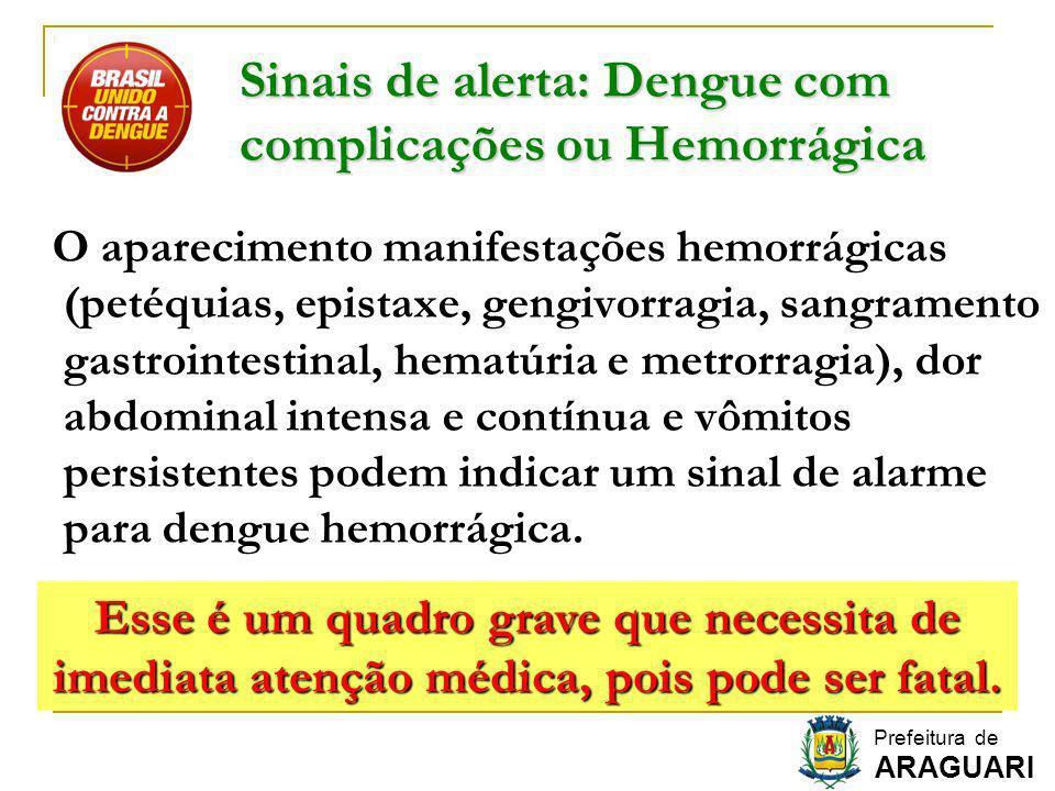 Sinais de alerta: Dengue com complicações ou Hemorrágica O aparecimento manifestações hemorrágicas (petéquias, epistaxe, gengivorragia, sangramento ga
