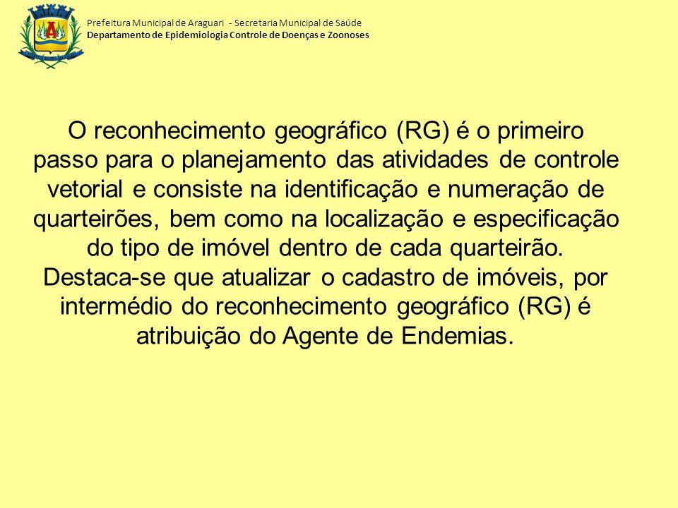 Prefeitura Municipal de Araguari - Secretaria Municipal de Saúde Departamento de Epidemiologia Controle de Doenças e Zoonoses O reconhecimento geográf