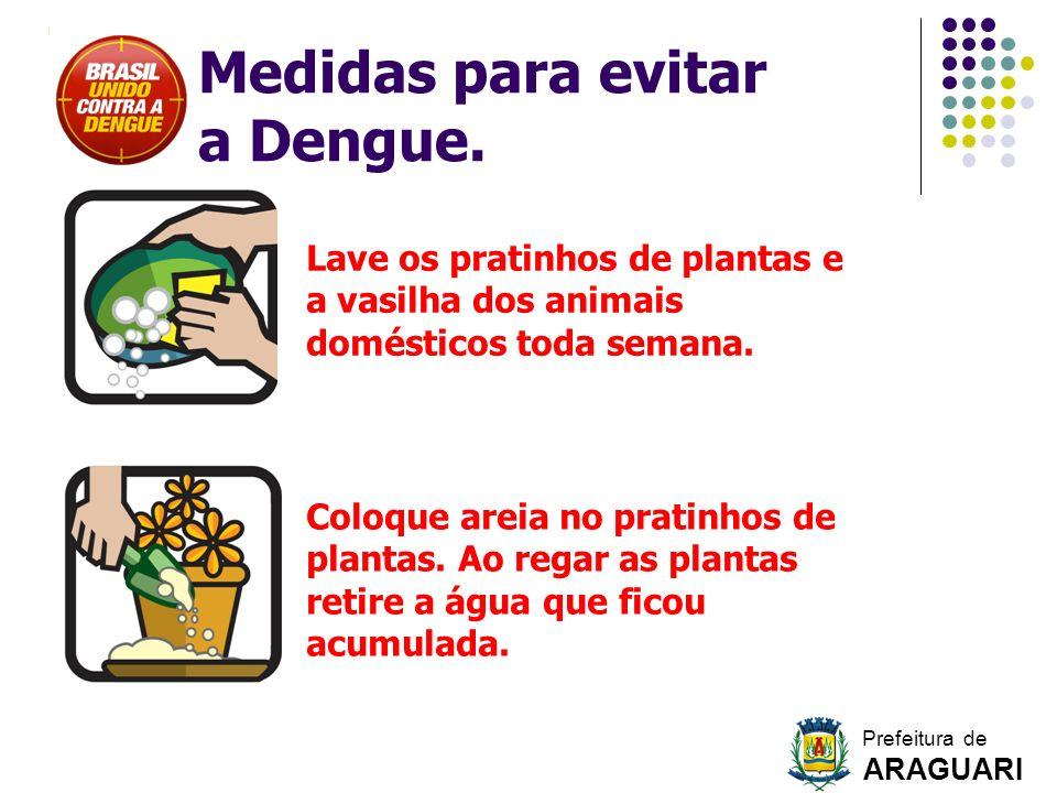 Lave os pratinhos de plantas e a vasilha dos animais domésticos toda semana. Coloque areia no pratinhos de plantas. Ao regar as plantas retire a água