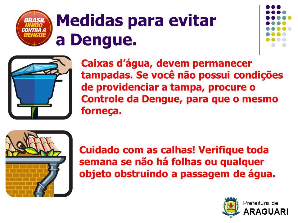 Caixas dágua, devem permanecer tampadas. Se você não possui condições de providenciar a tampa, procure o Controle da Dengue, para que o mesmo forneça.