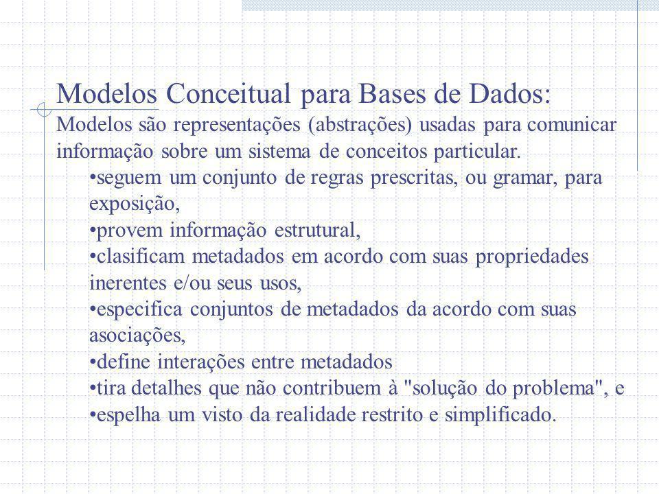 Modelos Conceitual Comuns para Bases de Dados Entidade Relacionamento Focaliza na estrutura dos dados/metadados Modelagem funcional separada Object-oriented Modela objetos por a encapsulação dos metadados (estrutura) e métodos (funções)