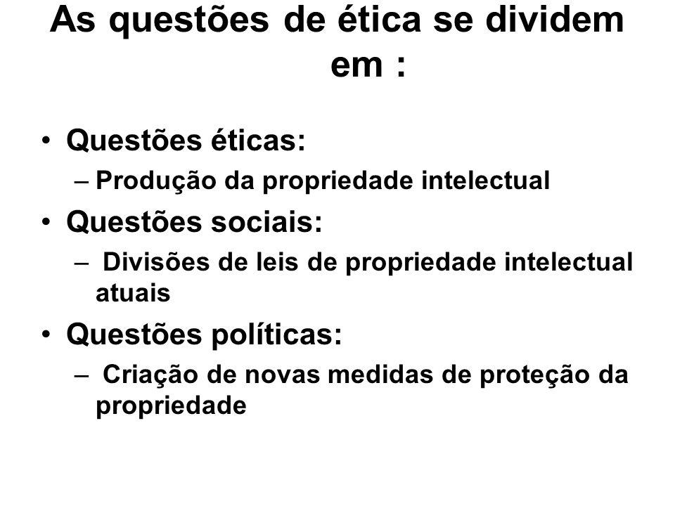 As questões de ética se dividem em : Questões éticas: –Produção da propriedade intelectual Questões sociais: – Divisões de leis de propriedade intelec
