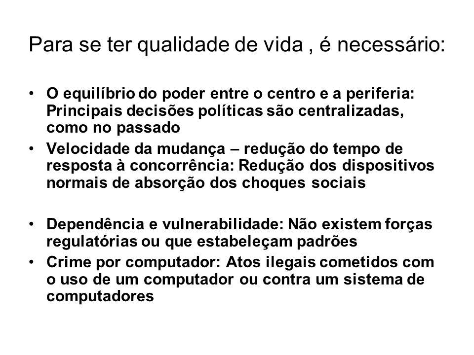 Para se ter qualidade de vida, é necessário: O equilíbrio do poder entre o centro e a periferia: Principais decisões políticas são centralizadas, como