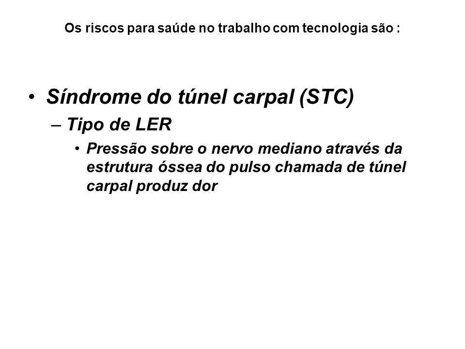 Os riscos para saúde no trabalho com tecnologia são : Síndrome do túnel carpal (STC) –Tipo de LER Pressão sobre o nervo mediano através da estrutura ó