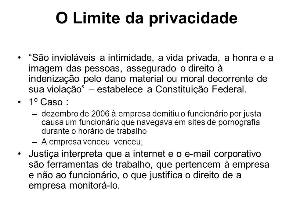 O Limite da privacidade São invioláveis a intimidade, a vida privada, a honra e a imagem das pessoas, assegurado o direito à indenização pelo dano mat