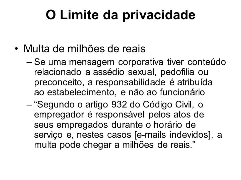 O Limite da privacidade Multa de milhões de reais –Se uma mensagem corporativa tiver conteúdo relacionado a assédio sexual, pedofilia ou preconceito,
