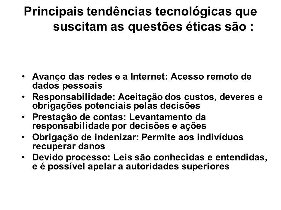 Principais tendências tecnológicas que suscitam as questões éticas são : Avanço das redes e a Internet: Acesso remoto de dados pessoais Responsabilida