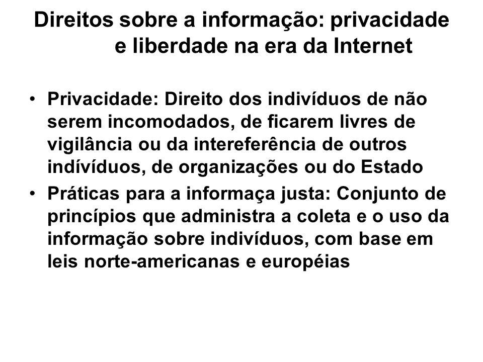 Direitos sobre a informação: privacidade e liberdade na era da Internet Privacidade: Direito dos indivíduos de não serem incomodados, de ficarem livre