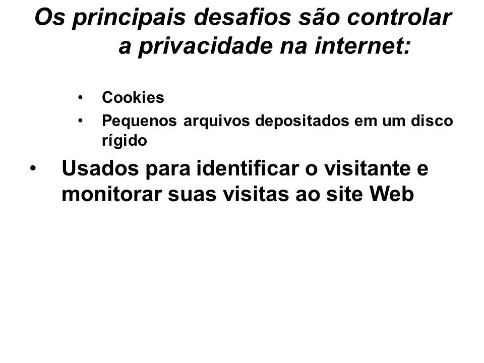 Os principais desafios são controlar a privacidade na internet: Cookies Pequenos arquivos depositados em um disco rígido Usados para identificar o vis