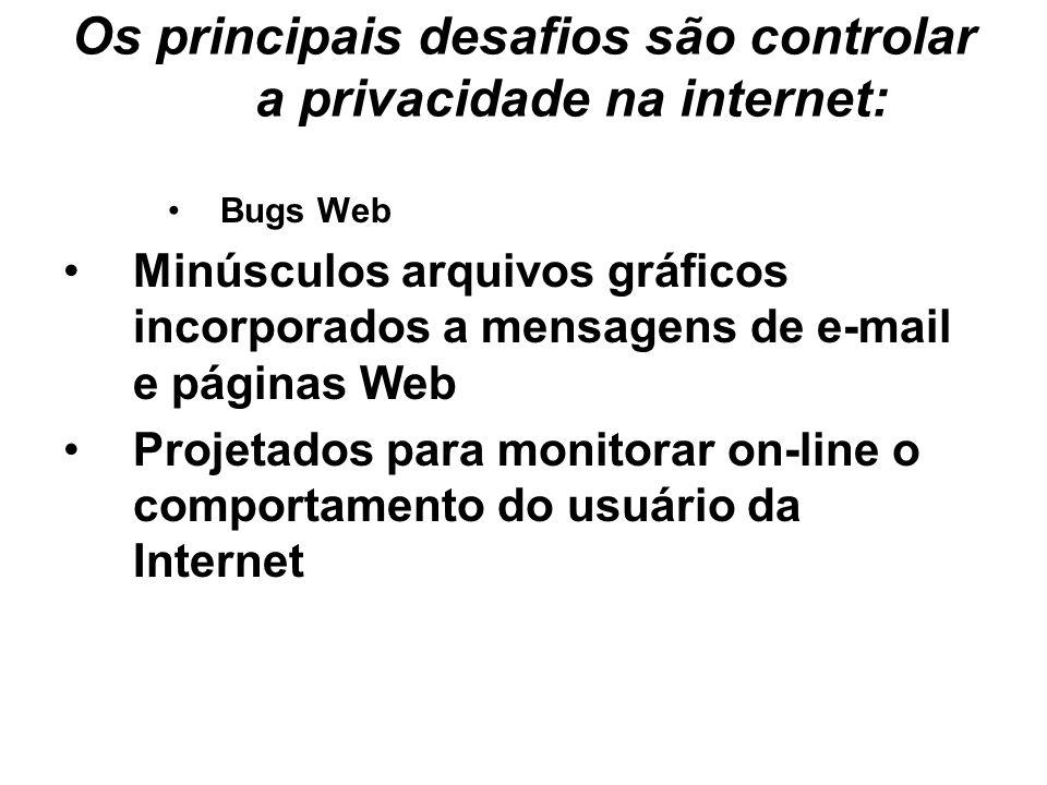 Os principais desafios são controlar a privacidade na internet: Bugs Web Minúsculos arquivos gráficos incorporados a mensagens de e-mail e páginas Web