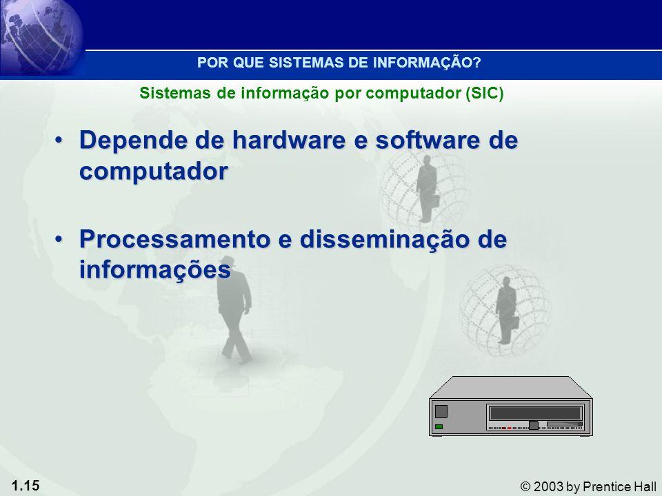1.15 © 2003 by Prentice Hall Depende de hardware e software de computadorDepende de hardware e software de computador Processamento e disseminação de