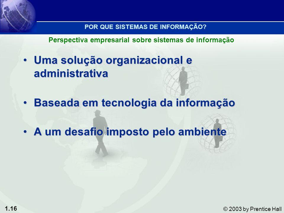 1.16 © 2003 by Prentice Hall Uma solução organizacional e administrativaUma solução organizacional e administrativa Baseada em tecnologia da informaçã