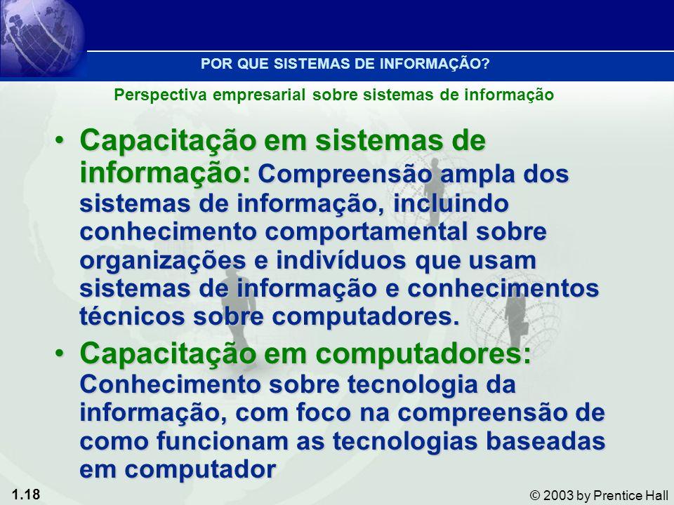 1.18 © 2003 by Prentice Hall Capacitação em sistemas de informação: Compreensão ampla dos sistemas de informação, incluindo conhecimento comportamenta
