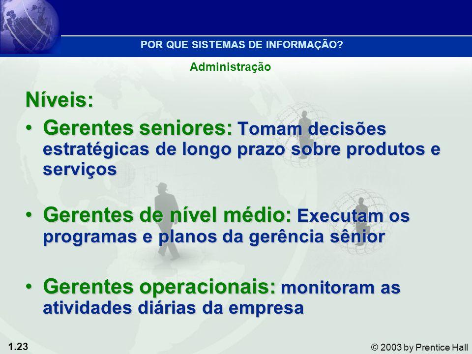 1.23 © 2003 by Prentice Hall Níveis: Gerentes seniores: Tomam decisões estratégicas de longo prazo sobre produtos e serviçosGerentes seniores: Tomam d