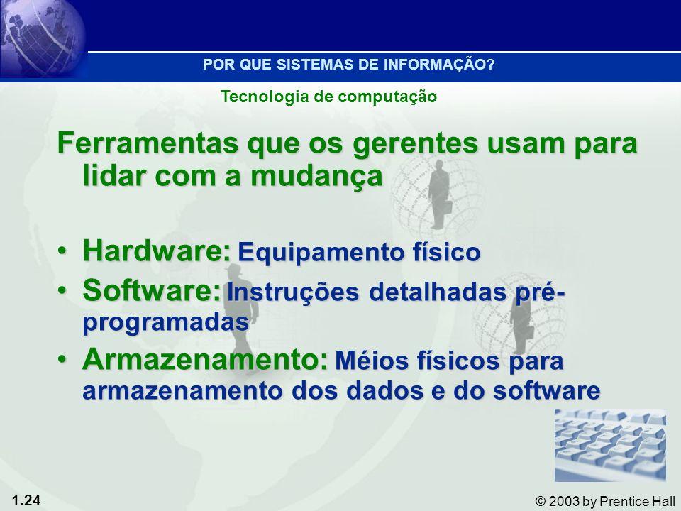 1.24 © 2003 by Prentice Hall Ferramentas que os gerentes usam para lidar com a mudança Hardware: Equipamento físicoHardware: Equipamento físico Softwa