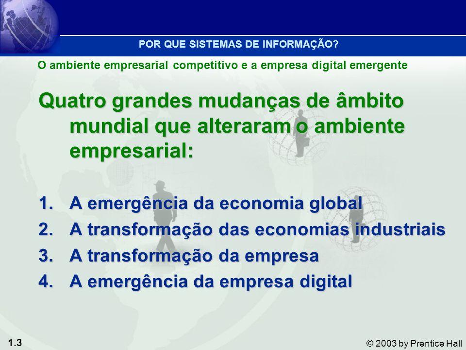 1.3 © 2003 by Prentice Hall O ambiente empresarial competitivo e a empresa digital emergente POR QUE SISTEMAS DE INFORMAÇÃO? Quatro grandes mudanças d