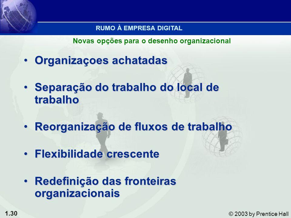 1.30 © 2003 by Prentice Hall Organizaçoes achatadasOrganizaçoes achatadas Separação do trabalho do local de trabalhoSeparação do trabalho do local de