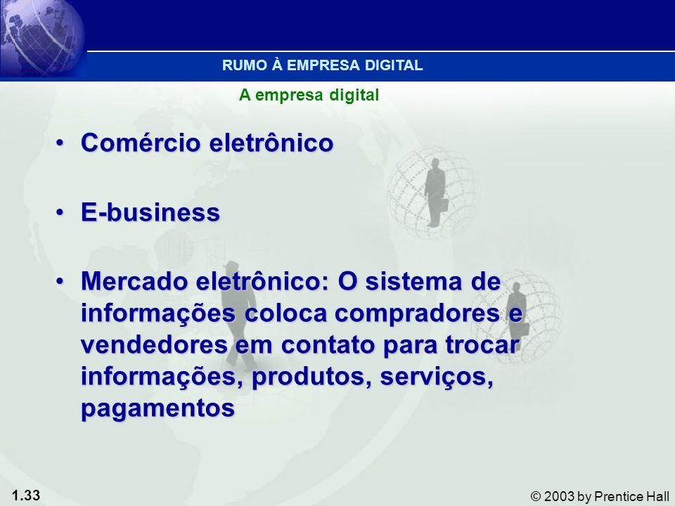 1.33 © 2003 by Prentice Hall Comércio eletrônicoComércio eletrônico E-businessE-business Mercado eletrônico: O sistema de informações coloca comprador