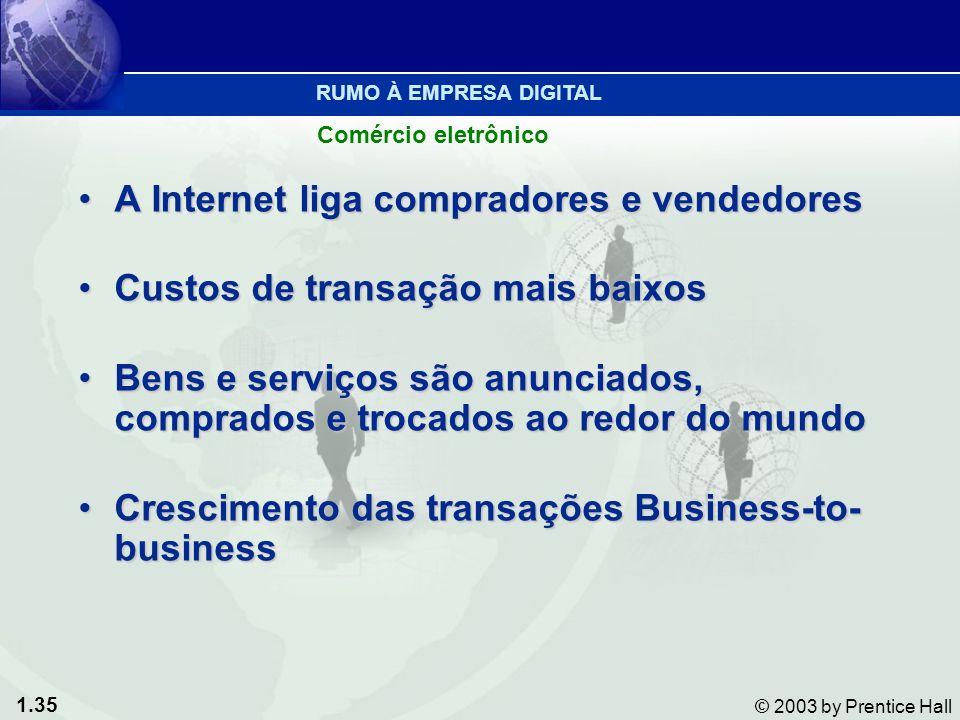 1.35 © 2003 by Prentice Hall A Internet liga compradores e vendedoresA Internet liga compradores e vendedores Custos de transação mais baixosCustos de